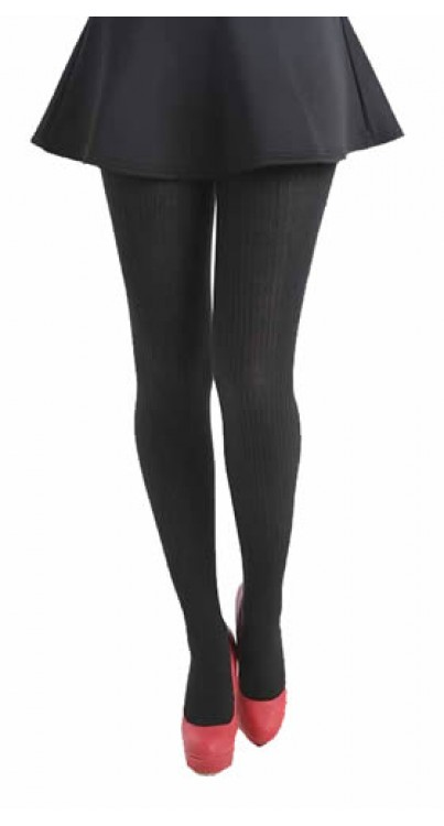 Ribbed Tights (Black)-One Size