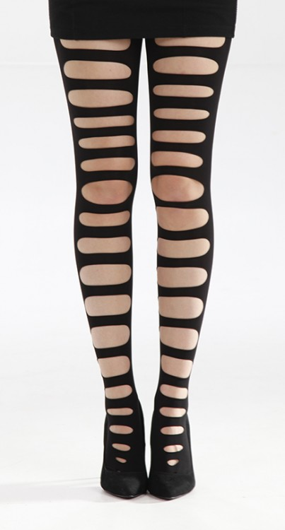 Front Slash Ripped Tights with Gusset (Black)