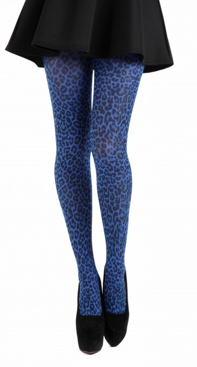 Small Leopard Printed Tights (Flo Blue)