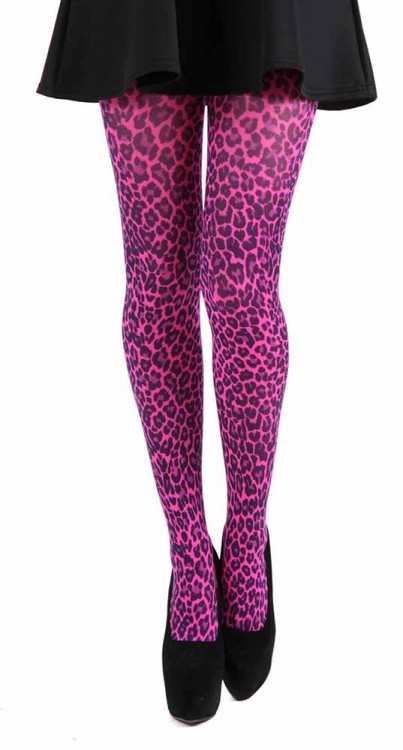 Small Leopard Printed Tights (Flo Pink)