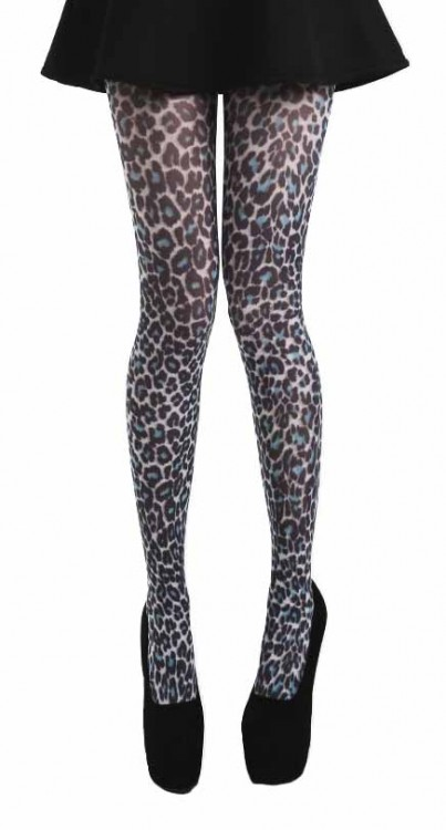 Small Leopard Printed Tights (Teal)