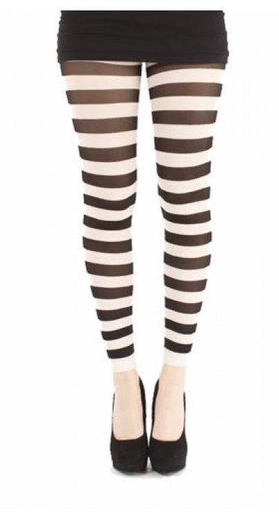 Twickers Footless Tights (Black/White)
