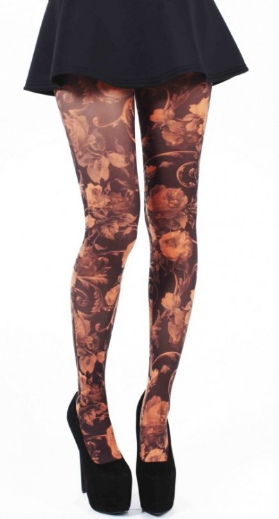 Twilight Printed Tights (Flo Orange)