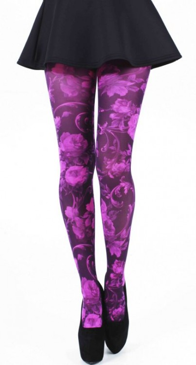 Twilight Printed Tights (Flo Pink)