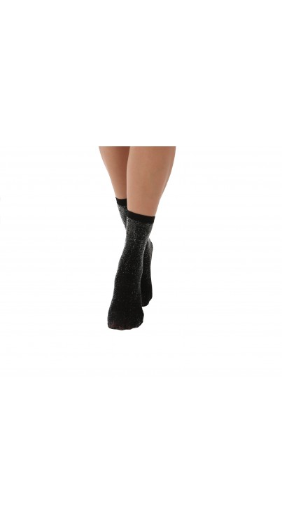 Two Tone shimmer sock Black/Silver