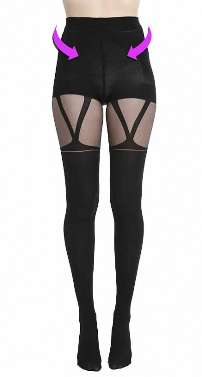 V Strap Suspender Smoothing and Shaping Tights (Black)
