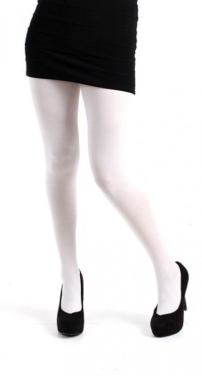 40 Denier Velvet Tights (White)