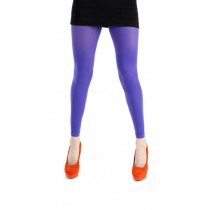 Fluorescent Purple 40 Denier Velvet Footless Tights