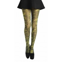 Lace Frill Printed Tights (Flo Yellow)