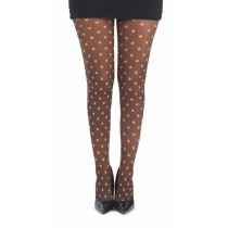 Polka Dot B Printed Tights (Flo Orange)