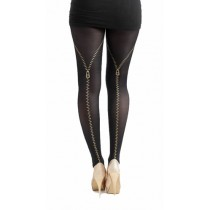 Flocked Tights Zips Gold (Black/Gold)