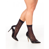 Leopard Sheer Sock- Black