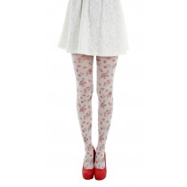 Autumn Flower Printed Tights White