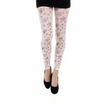 Autumn Flower Printed Footless Tights (White)