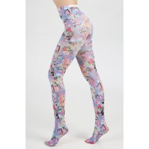 Badges Printed Tights (Pastel)