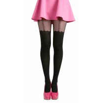Bow Suspender Tights (Black)