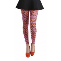 Candy Hearts Printed Footless Tights (Pink)