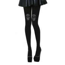 Diamante Skull on Knee Tights (Black)