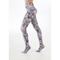 Pumpkin, Cobweb & Cat Printed Tights (White/Blue)