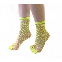 Extra Large Net Ankle Socks (Flo Yellow)