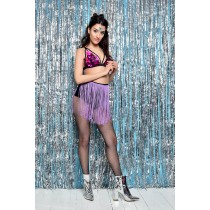 Festival Fishnet Tassel Tights (Lilac)