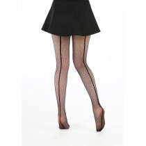 Fishnet Seamed Tights (Black/Black)