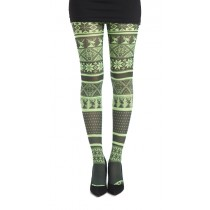 Fairisle Printed Tights Flo Green