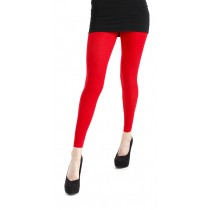 Fluorescent Red 40 Denier Velvet Footless Tights