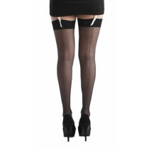 Jive Seamed Metallic Stockings  (Black/Silver)