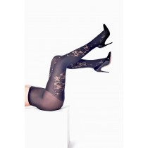 Lace Opaque Panel Tights (Black)