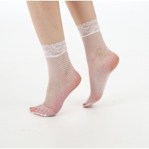 Lace Trim Fishnet Ankle Socks