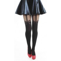 Net Bow Suspender Tights (Black)