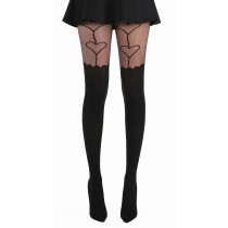 Oversized Heart Suspender Tights with Scallop Edge (Black)
