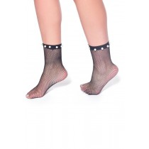Pearl Fishnet Ankle Socks (Black)