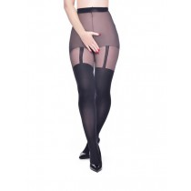 Plain Stripe Suspender Crotchless Tights (Black)