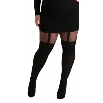 Plus Size Plain Stripe Suspender Tights (Black)