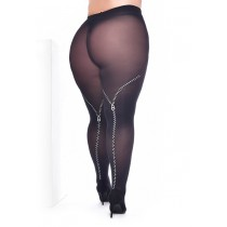 Curvy Super-stretch Tights with Zips (Black)