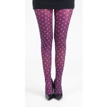 Polka Dot B Printed Tights (Flo Pink)