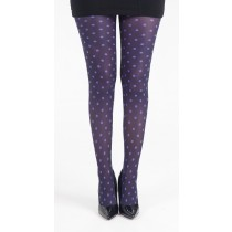 Polka Dot B Printed Tights (Flo Purple)
