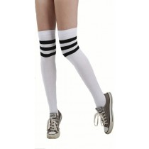 Referee Overknee Socks White/Black