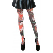 Scarlett Printed Tights (Black/Red)
