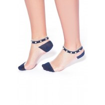 Sheer Ankle Socks with Glitter and Pearl Beading (Blue)
