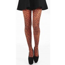Small Leopard Printed Tights (Flo Orange)