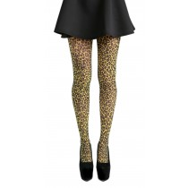 Small Leopard Printed Tights (Flo Yellow)