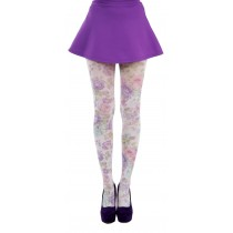 Spring Flower Printed Tights (Purple)