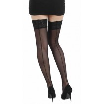 Tulle Seamed Lace Top Hold Ups (Black)