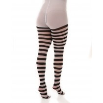 Striped hoop curvy super-stretch tights white/black