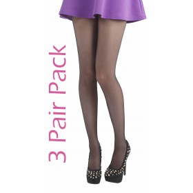 15 Denier 3 Pair Pack Tights (Black)