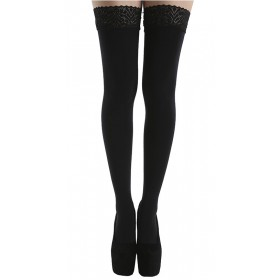 80 Denier Lace Top Hold Ups (Extra Long) (Black)