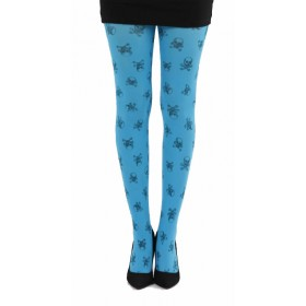 Skulls A Printed Tights (Flo Turquoise)